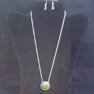 Paparazzi Green Moonstone Necklace Set